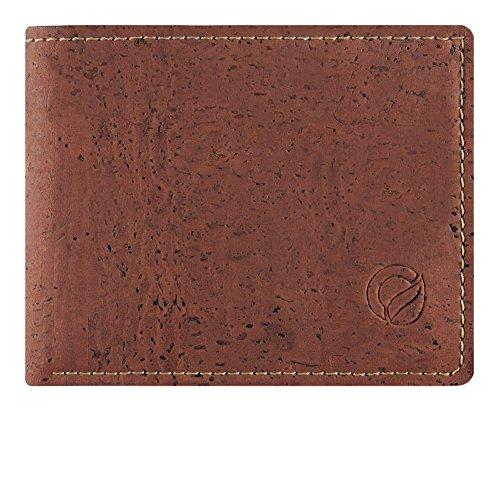 CORKOR Geldbörse Münzbörsen Brieftasche Herren Bifold für Kreditkarten Natur Veganer Korkleder Rot