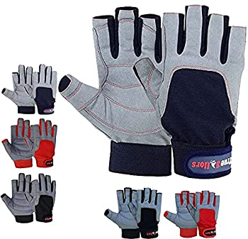 MRX BOXING & FITNESS Sailing Gloves with 3/4 Finger and Grip for Men and Women Great for Kayaking Workouts and More  Blue/Grey Large