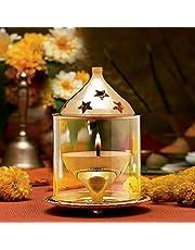 Decorate India Brass Akhand Diya with Borosilicate Glass (Gold_3.1 Inch X 3.1 Inch X 4.7 Inch)