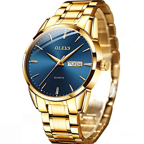 Gold Watches for Men Stainless Steel Mens Gold Watch Day and Date Luxury Dress Watches for Man Blue Dial/Face,OLEVS Fashion Simple Casual Classic Quartz Waterproof Wrist Watches,relojes de Hombre