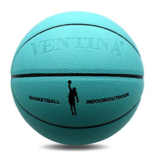 WLM PU Soft Cuero No. 7 Baloncesto, Al Aire Libre y Interior Alto Elástico Absorción de Humedad Luz Azul No. 7 Baloncesto
