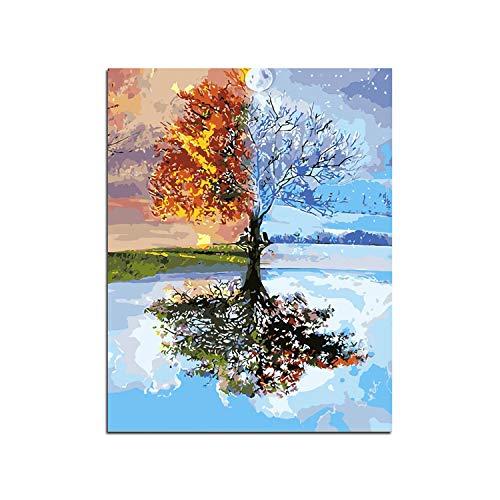 Diy pintura al óleo por números para adultos | Sin marco Four Seasons Tree Landscape DIY Painting By Numbers Kit Pintura sobre lienzo Pintura Caligrafía para la decoración del hogar-40X50 Cm Sin marco