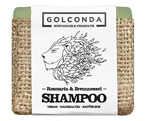 GOLCONDA Haarseife Rosmarin & Brennnessel | gegen Haarausfall und Schuppen | zertifizierte Naturkosmetik | Vegan | Plastikfrei Shampooseife | Festes Shampoo Seife | Palmölfrei | 1 stück