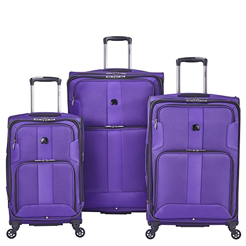 Delsey Luggage Sky Max 3 Piece Spinner Luggage Set, Purple