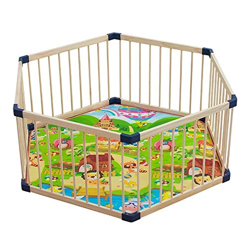 GAOLE Hexagonal Infant Play Playpen Freestanding Child Playpen Panel de Madera Plegable Barrera Malla de Malla (Tamaño: 80 cm)