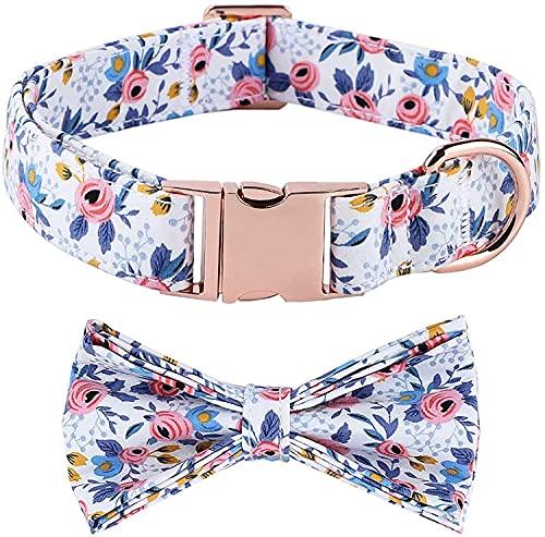 VUCDXOP - Collar para perros con pajarita, ajustable, de algodón, con cierre de metal, para perros pequeños, medianos y grandes