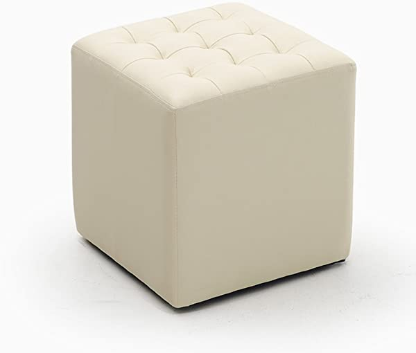Yxsd Leather Stool Upholstered Footstool Ottoman Upholstered Shoe Stool Small Sofa Stool Cube Bench Color Beige