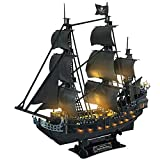 CubicFun 3D Puzzles 26.6' Pirate Ship with 15 LED Bulbs for Adults Sailboat Model Building Kits Hobby Toy, Cool Room Decor Gift for Men Queen Anne's Revenge, Difficult Family Puzzle 340 Pieces