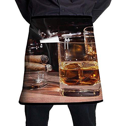 FJXXM Taille Korte schort Half Chef Schort Gekleurde Whisky In Cup Koken Schort Met Zakken Thuis Keuken Koken Pinafore