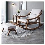DGDF Silla mecedora de madera maciza estilo chino, con tecnología de tela, para dormitorio, oficina, patio, 132 x 69 x 76 cm