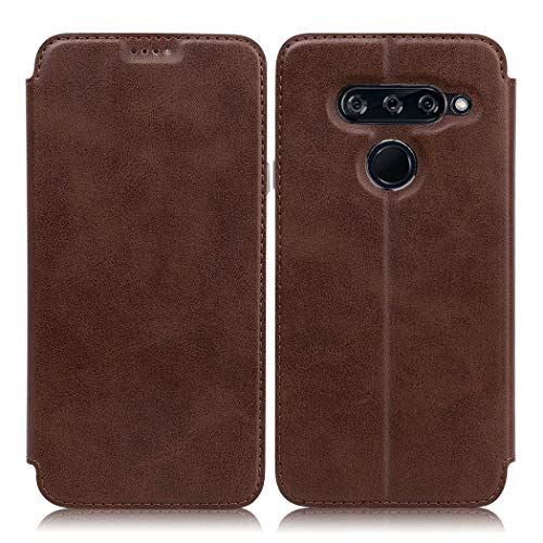 Eastcoo LG V40 ThinQ Hülle Premium PU Leder Handyhülle Brieftasche-Stil Magnetisch Folio Flip Klapphülle Schutzhülle Mit StandfunktionTasche Case Cover für LG V40 ThinQ (LG V40 ThinQ, Brown)