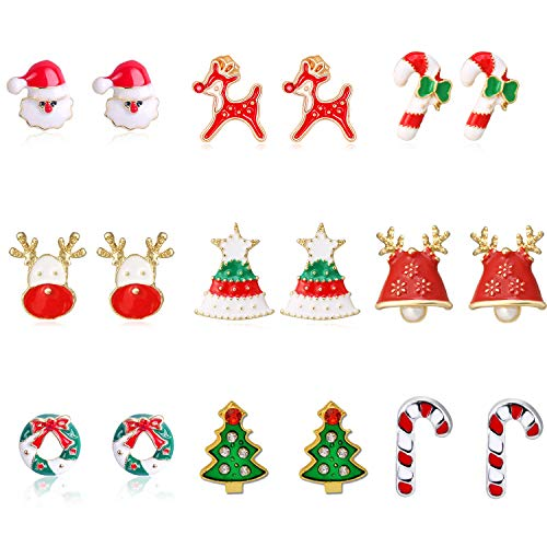 9 Pairs Christmas Stud Earrings Set for Girls Festive Earrings Jewelry Set, Christmas Gifts for Women