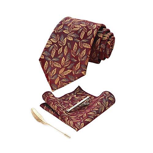 necktie Classico Foglie 8Cm Cravatta Di Seta Retrò Moda Mens Cravatta Fazzoletto Spilla Cravatta Set Cravatte Per gli Uomini Di Affari Matrimonio Grav