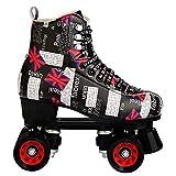Patines para mujeres y hombres, aspecto elegante, 4 ruedas clásicas de alto nivel, patines de doble fila para interior y exterior, unisex, transparente, 43