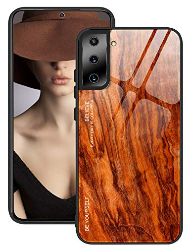 for Samsung Galaxy S21 Plus Case Glass Cases Wooden Texture Heavy Duty Plastic Silicone Case Shockproof Shell Simple Style Hard PC Slim Rubber Cases for Samsung Galaxy S21 Plus Cover 5G