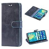 Mulbess Handyhülle für Huawei P30 Hülle, Leder Flip Case Schutzhülle für Huawei P30 Tasche, Dunkel Blau