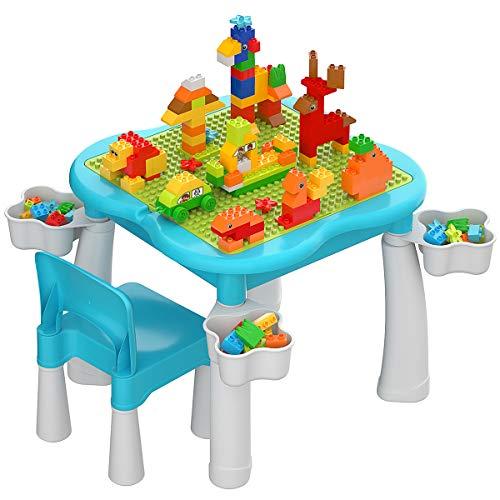 burgkidz Kindertisch und Stuhlset, Kleinkind-Aktivitätstisch mit Konstruktionsgrundplatte, 1 Stuhl und 128 Stück großes Bausteinspielzeug, Plastikspieltisch für Jungen und Mädchen, Blau