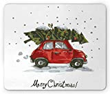 Ambesonne Christmas Mouse Pad, Red Retro Style Car Xmas Tree Vintage Family Style Illustration Snowy Winter Art, Rectangle Non-Slip Rubber Mousepad, Standard Size, Red Green