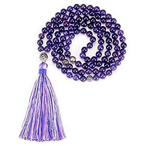 108 Hand-Knotted 8mm Amazonite Beads, Antiqued Guru, Counter Beads, and Tassel | Meditation, Buddhist Prayer, Healing