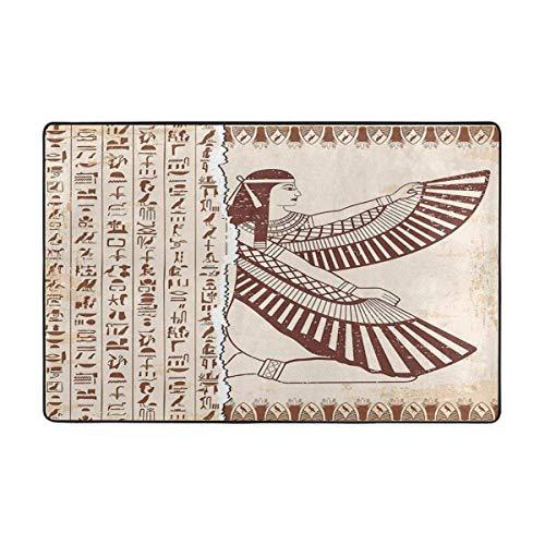 NA Alfombra de área Diosa egipcia ISIS y jeroglíficos Antideslizante Estera cómoda...