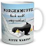 TRIOSK Tasse Morgenmuffel Pinguin lustig mit Spruch Nicht ansprechen Geschenk für Arbeit Büro...