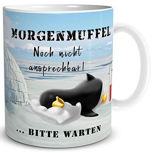 TRIOSK Tasse Morgenmuffel Pinguin lustig mit Spruch Nicht ansprechen Geschenk für Arbeit Büro Frauen Freundin Kollegin Pinguinliebhaber