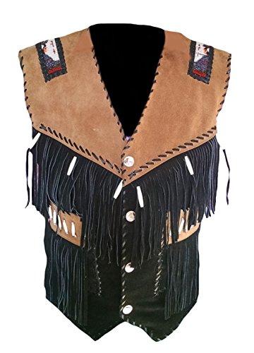 Classyak - Gilet da uomo in pelle scamosciata da cowboy Camoscio nero M petto 101/106 cm