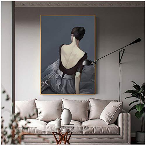 Abstracte witte ballet jurk meisje poster print moderne zwarte strakke rok muur foto voor woonkamer Nordic mooie vrouwen schilderen-60x90cm geen frame