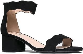 Suede Open Toe Ankle Strap Sandal - Trendy Kitten Heel Shoe - Low Block Formal Heel - Mimi