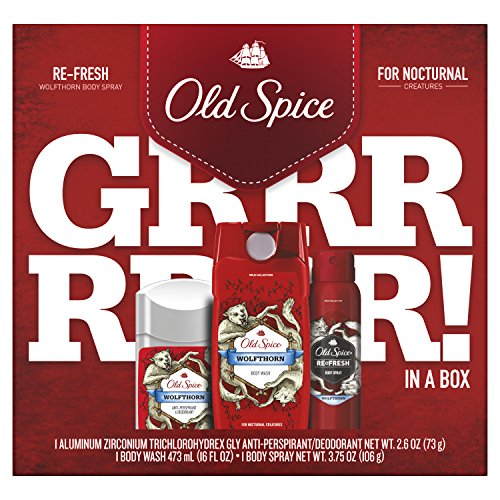 Old Spice Antiperspirant and Deodorant, Body Wash and Spray, Wolfthorn Gift Pack