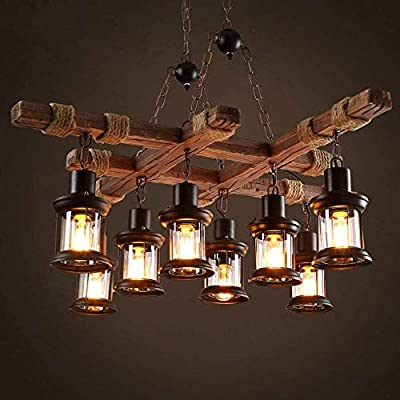 8 Lights Industrial Wooden Hanging Lighting Black Metal Chandelier Farmhouse Vintage Pendant Lamp Glass Lampshade for Pool Table Kitchen Island Bar Retro Ceiling Light Height Adjustable Fixture