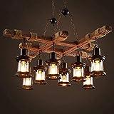 Pendelleuchte Vintage E27*8 Lichter Industrie Holz Hängende Beleuchtung Schwarz Metall Kronleuchter Bauernhaus Glas Lampenschirm Kücheninsel Bar Retro Deckenleuchte Höhe Einstellbare Leuchte