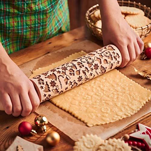 Yeyll Präge-Teigrolle aus Holz, geprägt, mit weihnachtlichen Schneeflocken und Hirsch-Muster, Geschenkidee für die Küche, zum Backen von Gebäck, Kuchen, Keksen, Fondant, Gebäck, Kekse