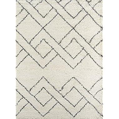 Momeni Rugs MAYA0MAY-6IVY5376 Maya Collection, Ultra Thick Pile Shag Area Rug, 5'3  x 7'6 , Ivory
