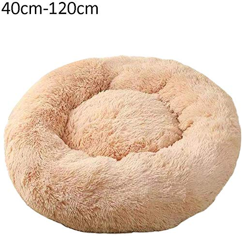 YLCJ Honden- en kattenbed, rond, warm, zacht, voor puppy's, bank, katten, slaapzak, orthopedisch en verbeterde slaap, lichtgrijs, 40 cm, 40cm, Beige