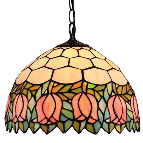 LONGSAND American Retro Tulpe hängende Lampe 12 Zoll Tiffany-Art-Leuchter-handgemachtes Glasmalerei Lampshade für Schlafzimmer Wohnzimmer Korridor Treppen Bar Restaurant Dekoration