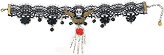 Iusun Halloween Necklaces Black Lace Skull Gothic Pendant Choker Punk Style Skeleton Head Rose Vampire Chain for Women Costume Party