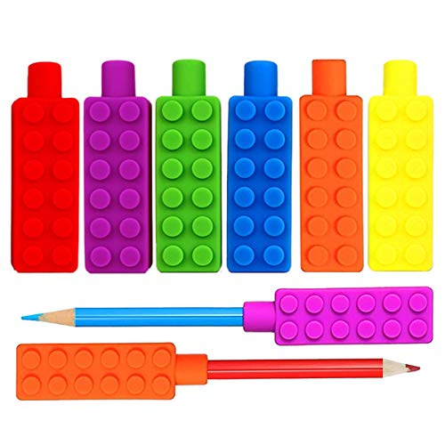 12PCS Chewable Pencil Chew Topper, Cooyeah Toy Blocks Shape Chew Topper Suitble for Autism,Teething,Biting Fingernails or Continuous of Chewing Habit etc.