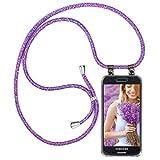 moex Cadena de teléfono compatible con Samsung Galaxy S3/S3 Neo, funda de silicona con correa, funda para teléfono móvil, funda transparente con cordón, intercambiable en lila y rosa