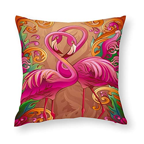 VariClouding Cotton Pillowcase, Pink Tropical Flamingo Novelty Square Throw Pillow Covers Custom Cotton Cushion Cover 35x35cm