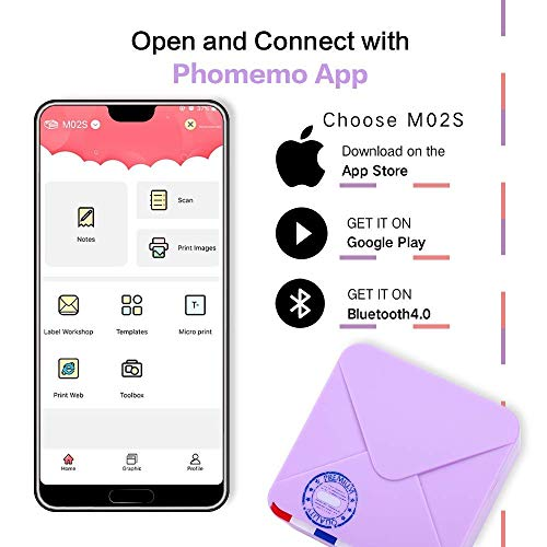 Phomemo M02S Mini Printer- Bluetooth Thermal Photo Printer with 3 Rolls Colorful Sticker Paper, Compatible with iOS + Android for Plan Journal, Study Notes, Art Creation, Work, Gift, Purple