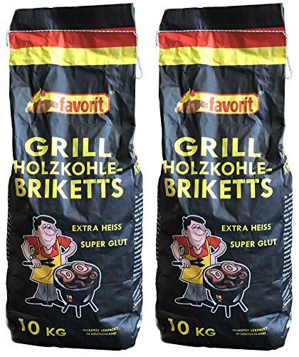 Favorit 20 Kg Grill Briketts aus Holzkohlestaub, Grillbrikett, 2x10 Kg. Sack