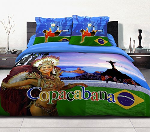 Home Passion 54202 Parures de couette 3 Pièces 57 Fils Place Coton Copacabana Bleu 220 x 240 cm