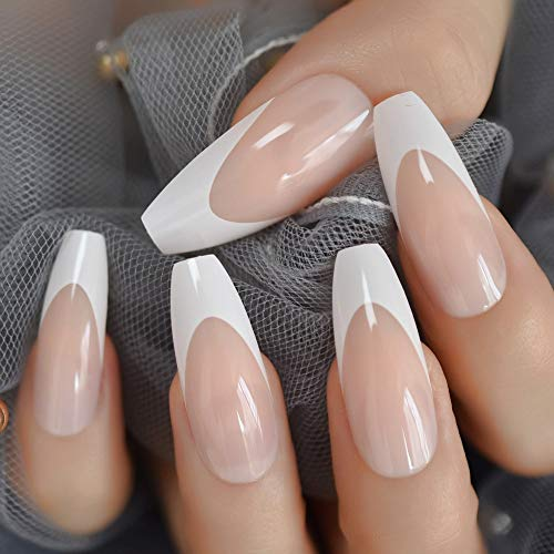 Long Shiny French Nail Natural Nude Full Cover Plastic Artificial Fingernails DIY Nail Tips Manicure Ballerina Nails
