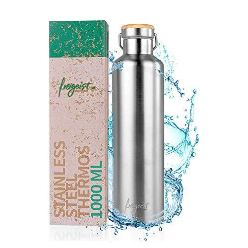 freigeist Edelstahl Thermosflasche 1 Liter | Outdoor Edelstahl Trinkflasche doppelwandig BPA frei & auslaufsicher