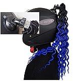 3T-SISTER Trecce intrecciate Casco Trecce Dreadlocks Casco di cristallo Coda di cavallo per Moto Bicicletta Casco da sci Capelli Ventosa Design 18 pollici