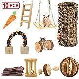Ewolee Juego de juguetes para hámster, 3 piezas de madera natural para...