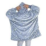 Manta De Gran Tamaño con Capucha, Jersey Luminoso, Cálido, Cómodo, Portátil, Suéter De Viaje, Almohada para Adultos, Hombres Y Mujeres Blue-Same Size