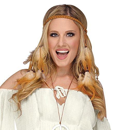 shoperama Diadema trenzada con plumas y perlas para disfraz de india o hippie