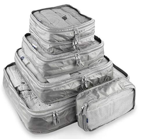 Containers By Aline - Organizadores de ropa para viaje -Set de 5 Bolsas para equipaje de viaje diferentes tamaños con red para mayor visibilidad y ventilación de la prenda. Color...